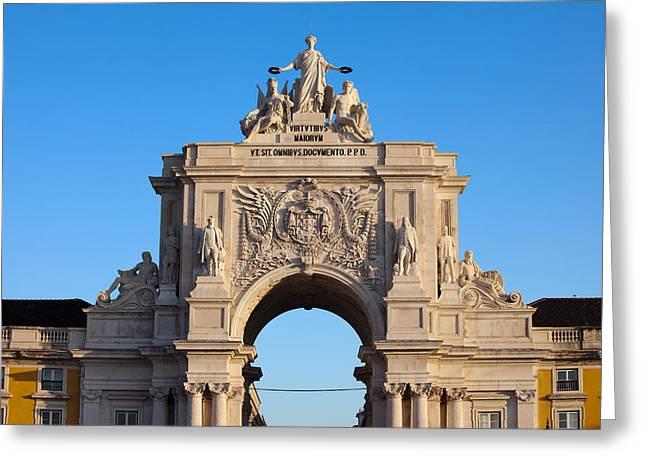 Valor Greeting Cards - Rua Augusta Arch at Sunrise in Lisbon Greeting Card by Artur Bogacki
