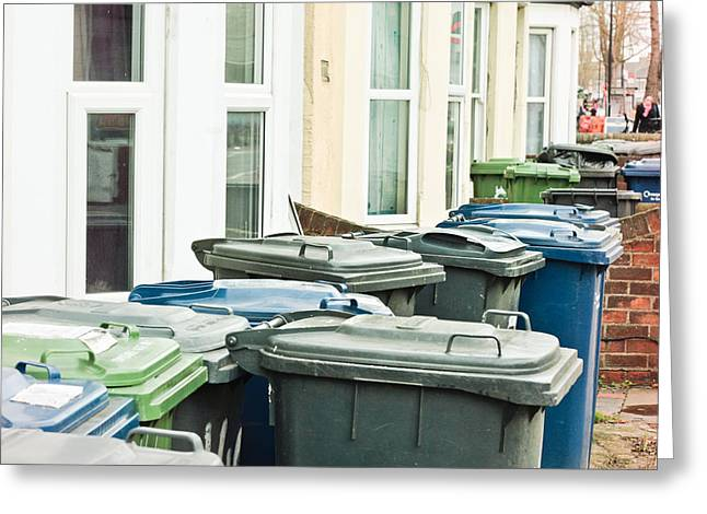 Thrown Away Greeting Cards - Rubbish bins Greeting Card by Tom Gowanlock