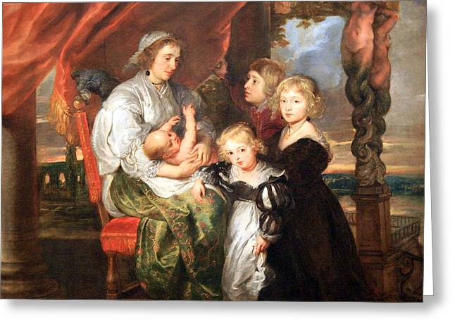 Peter Paul (1577-1640) Greeting Cards - Rubens Deborah Kip -- Wife Of Sir Balthasar Gerbier -- And Her Children Greeting Card by Cora Wandel