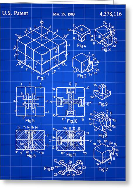 Algorithm Greeting Cards - Rubiks Cube Patent 1983 - Blue Greeting Card by Stephen Younts
