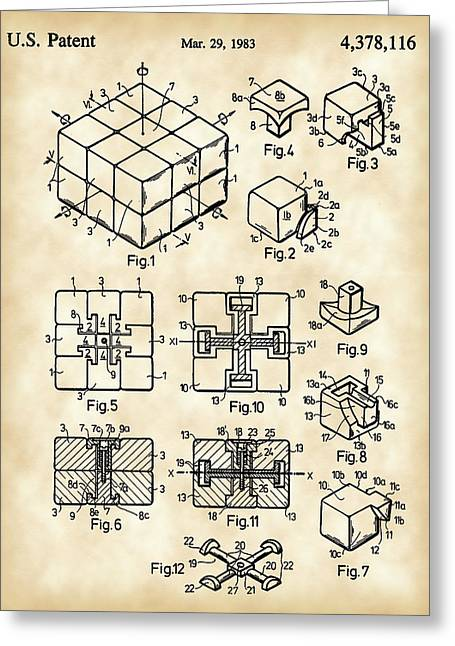 Ideal Digital Art Greeting Cards - Rubiks Cube Patent 1983 - Vintage Greeting Card by Stephen Younts