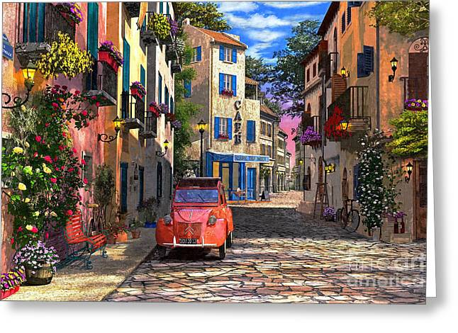 Dominic Davison Greeting Cards - Rue Francais Greeting Card by Dominic Davison