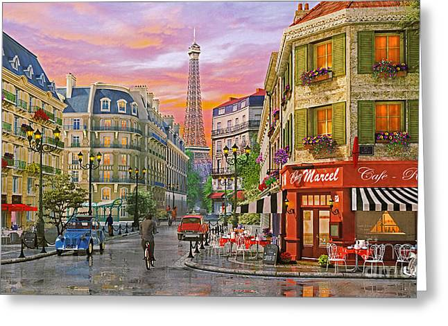 Dominic Davison Greeting Cards - Rue Paris Greeting Card by Dominic Davison