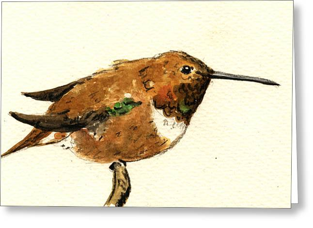 Cute Bird Greeting Cards - Rufous hummingbird Greeting Card by Juan  Bosco