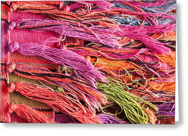 Tapestry Wool Greeting Cards - Rug tassels Greeting Card by Tom Gowanlock