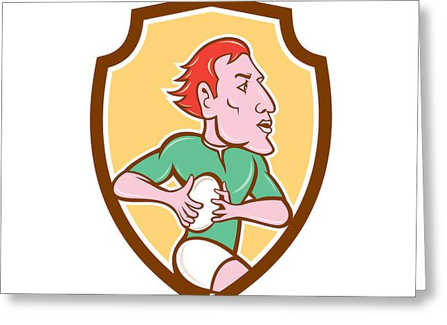 Rugby League Greeting Cards - Rugby Player Running Ball Shield Cartoon Greeting Card by Aloysius Patrimonio