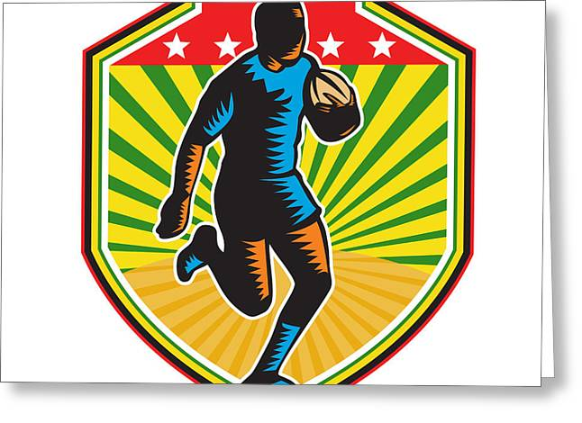 Rugby Player Running Ball Shield Retro Greeting Card by Aloysius Patrimonio