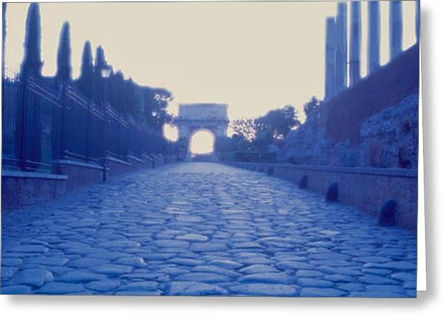 Italian Culture Greeting Cards - Ruins Along A Road At Dawn, Roman Greeting Card by Panoramic Images
