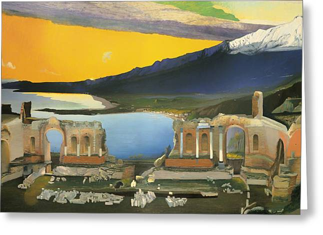 Panoramic Ocean Paintings Greeting Cards - Ruins of the Greek Theatre at Taormina Greeting Card by Tivadar Csontvary