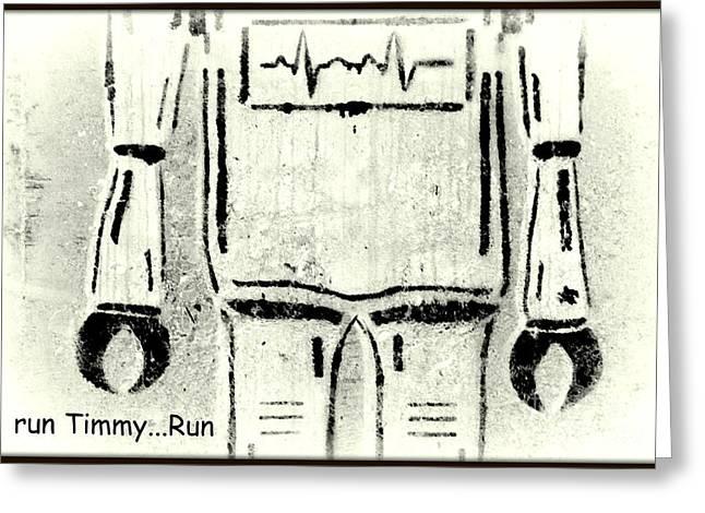 Childre Greeting Cards - Run Timmy Run Greeting Card by Joe Jake Pratt