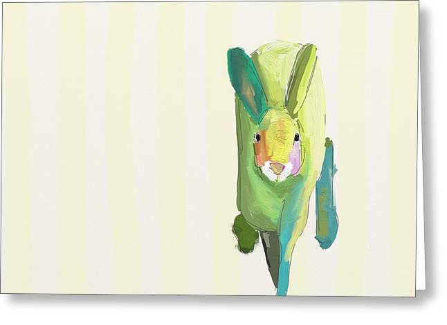 Children Greeting Cards - Running Bunny Greeting Card by Cathy Walters