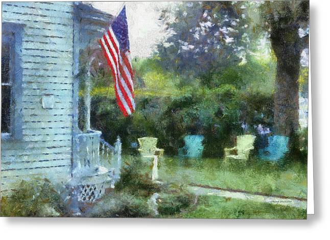Residential Structure Digital Greeting Cards - Rural Rear Porch With Flag Greeting Card by Thomas Woolworth