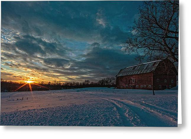 Red Farmhouse Greeting Cards - Rural Sunset II Greeting Card by Everet Regal