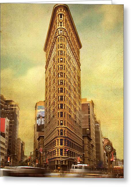 Flatiron Building Greeting Cards - Rush Hour   Greeting Card by Jessica Jenney