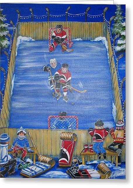 Hockey Paintings Greeting Cards - Rush the Puck Greeting Card by Jill Alexander