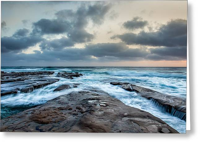 California Beach Image Greeting Cards - Rushing Seas Greeting Card by Peter Tellone
