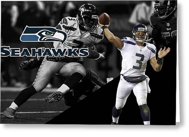 Russell Greeting Cards - Russell Wilson Seahawks Greeting Card by Joe Hamilton