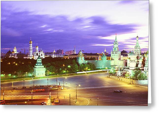 Purple Clouds Greeting Cards - Russia, Moscow, Red Square Greeting Card by Panoramic Images