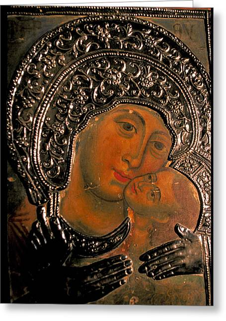 Hand-painted Icons Greeting Cards - Russian Icon Greeting Card by Carl Purcell