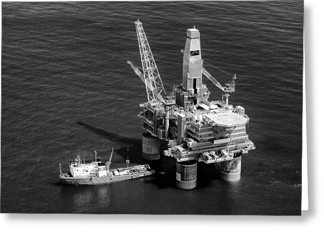 Sea Platform Greeting Cards - Russian Oil Platform Greeting Card by Mountain Dreams