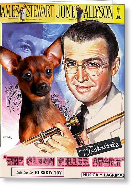 Dog Prints Greeting Cards - Russian Toy Art - The Glenn Miller Story Greeting Card by Sandra Sij