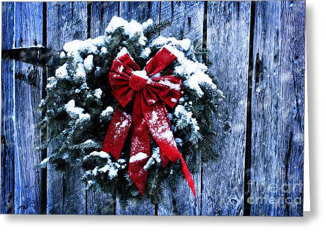 Snowy Night Greeting Cards - Rustic Christmas Wreath Greeting Card by Stephanie Frey