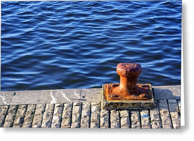 Bollard Greeting Cards - Rusty Bollard Greeting Card by Mikel Martinez de Osaba