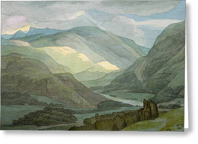 Landscape Drawings Greeting Cards - Rydal Water Greeting Card by Francis Towne