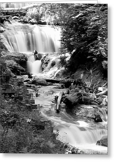 Superior Sunrise Greeting Cards - Sable Falls in Black and White Greeting Card by Twenty Two North Photography