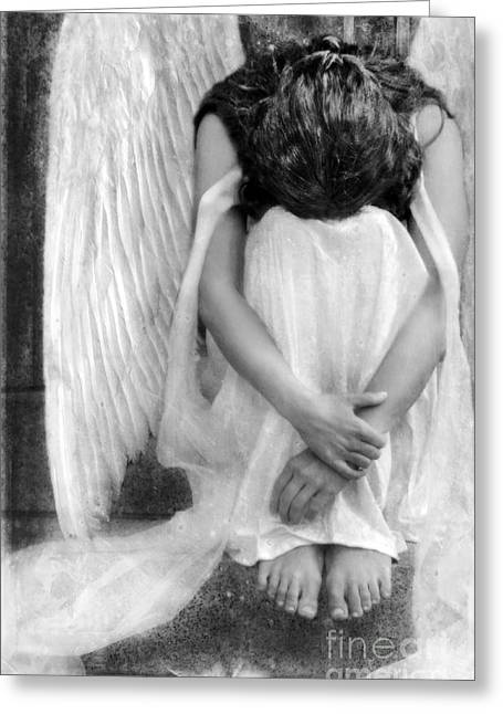 Christian Mythology Greeting Cards - Sad Angel Woman Greeting Card by Jill Battaglia