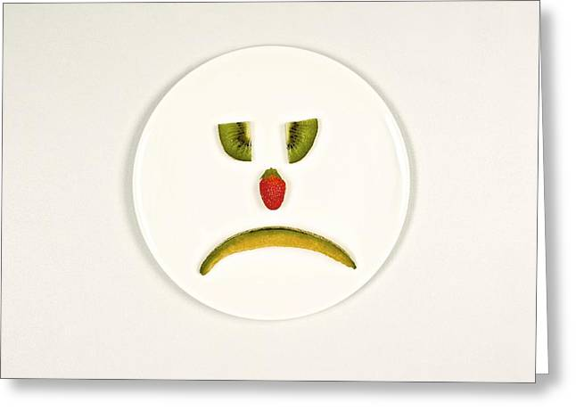 Body Language Greeting Cards - Sad food face Greeting Card by Science Photo Library