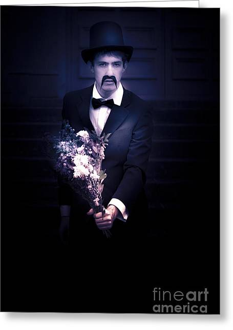 Sad Man Holding Flowers Greeting Card by Jorgo Photography - Wall Art Gallery