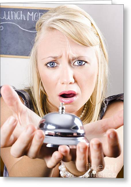 Youthful Photographs Greeting Cards - Sad Woman Holding Bell Of Bud Customer Service Greeting Card by Ryan Jorgensen
