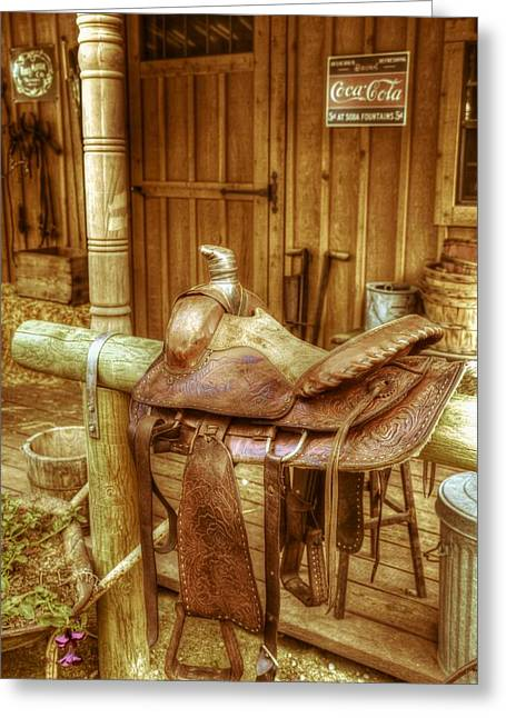 Hitchin Greeting Cards - Saddle Greeting Card by Vintage Country  Memories