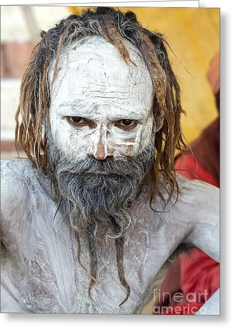 Sacred Body Greeting Cards - Sadhu Holy Man In India Greeting Card by Tony Camacho