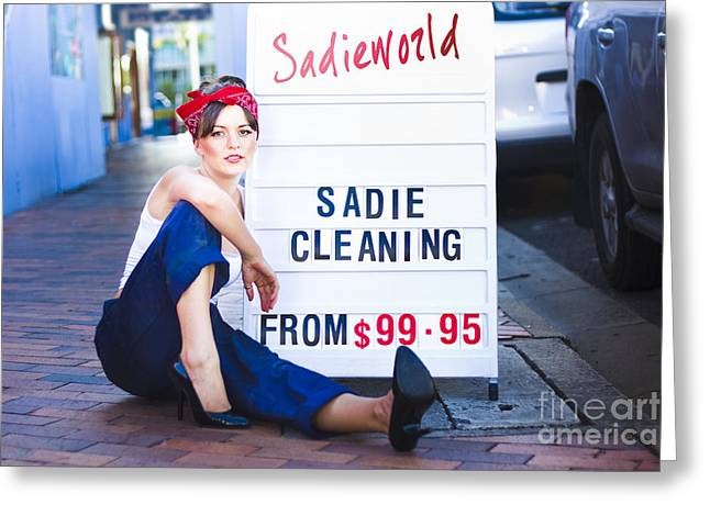 Hair-washing Greeting Cards - Sadie The Cleaning Lady Greeting Card by Ryan Jorgensen