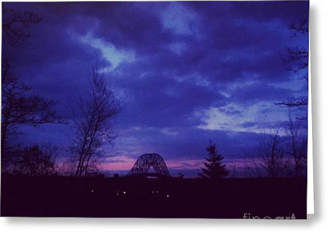 Sunset Tapestries - Textiles Greeting Cards - Sagamore Bridge Sunset Greeting Card by Lisa  Marie Germaine
