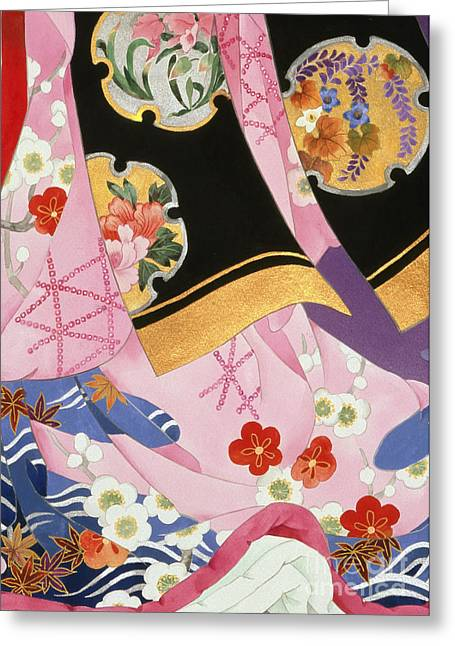Dancing Petals Greeting Cards - Sagi No Mai Greeting Card by Haruyo Morita