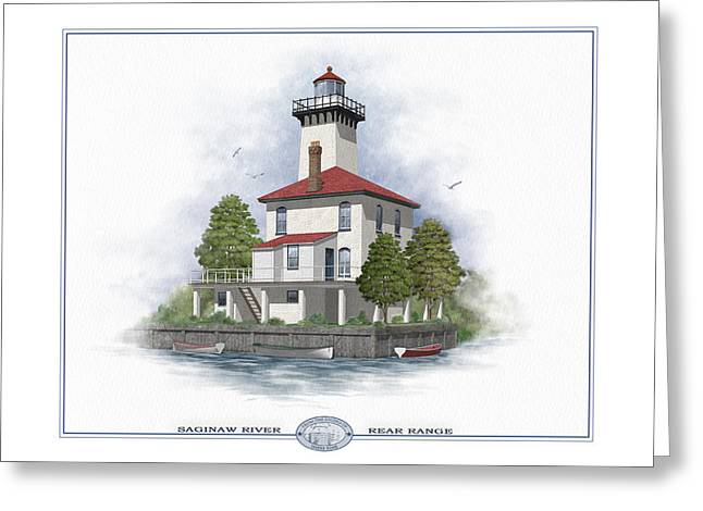 Grate Paintings Greeting Cards - Saginaw River Lighthouse Greeting Card by Harry Hine