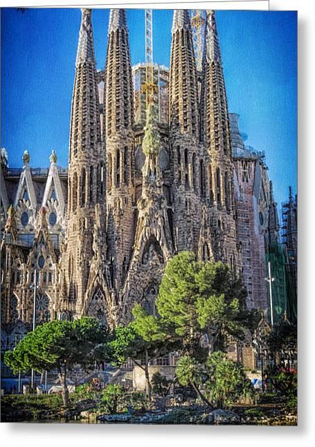 Religious Photographs Greeting Cards - Sagrada Familia Nativity Facade Greeting Card by Joan Carroll