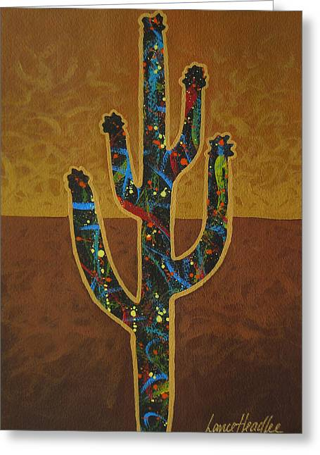 Arizona Contemporary Cowboy Greeting Cards - Saguaro Gold Greeting Card by Lance Headlee
