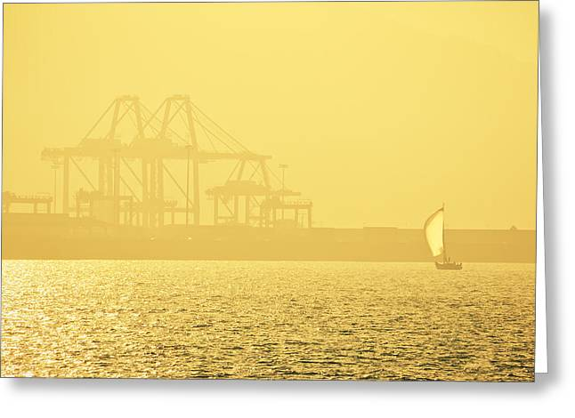 Yellow Sailboats Photographs Greeting Cards - Sailboat At Industrial Area Greeting Card by Mikel Martinez de Osaba