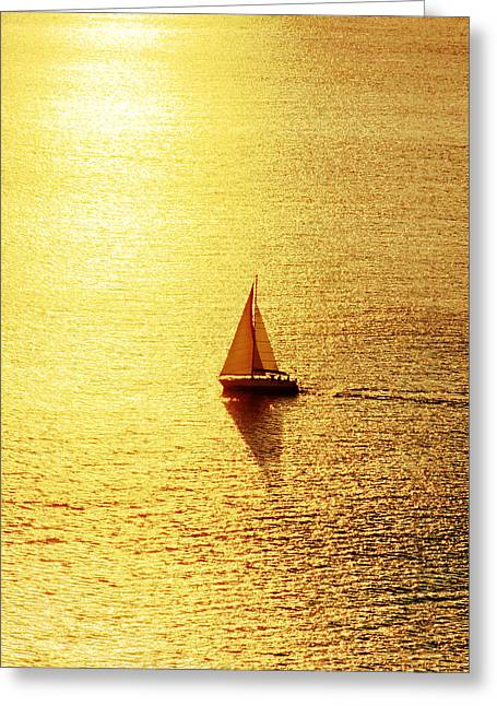 Yellow Sailboats Photographs Greeting Cards - Sailboat At Sunset Greeting Card by Mikel Martinez de Osaba
