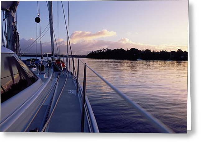 Sailboat Images Greeting Cards - Sailboat In The Sea, Kingdom Greeting Card by Panoramic Images