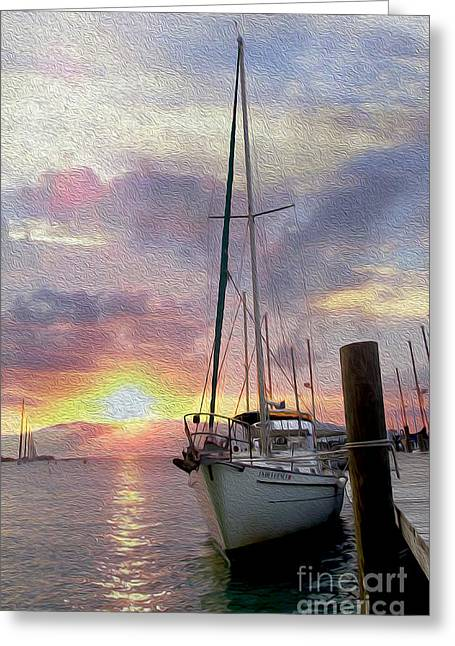 Sailboats Docked Greeting Cards - Sailboat Greeting Card by Jon Neidert