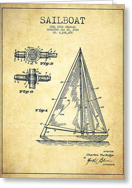 Sailboat Digital Greeting Cards - Sailboat Patent Drawing From 1938 - Vintage Greeting Card by Aged Pixel