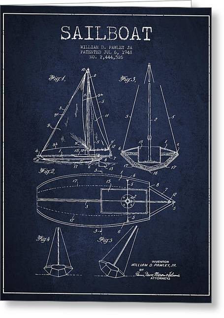 Boat Digital Art Greeting Cards - Sailboat Patent Drawing From 1948 Greeting Card by Aged Pixel