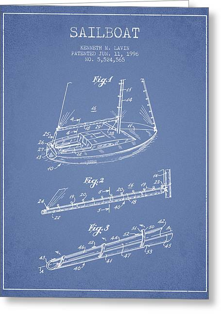 Sailboat Art Greeting Cards - Sailboat Patent from 1996 - Vintage Greeting Card by Aged Pixel