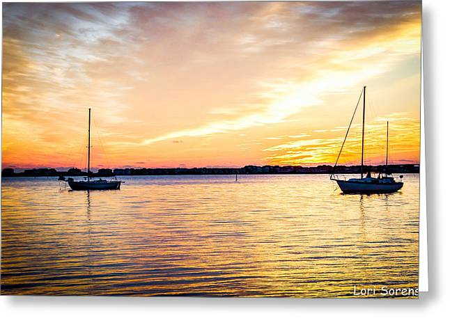 Shallowbag Bay Greeting Cards - Sailboats in Morning Sun Greeting Card by Sandy Banks Photography