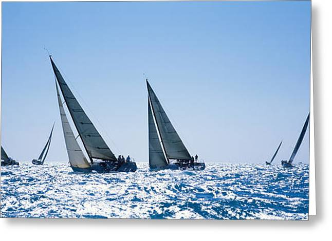 Water Vessels Greeting Cards - Sailboats Racing In The Sea, Farr 40s Greeting Card by Panoramic Images